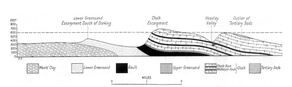 South to North geological cross-section through Box Hill to show how the alternating hard and soft strata have been preserved and eroded respectively to form a series of south-facing escarpments and intervening dip slopes and valleys. From Dines & Edmunds (1933). Courtesy of the British Geological Survey